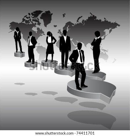 business people team standing on a 3d speech bubbles with world map- vector
