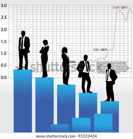 business people team standing on a vector graph - stock vector