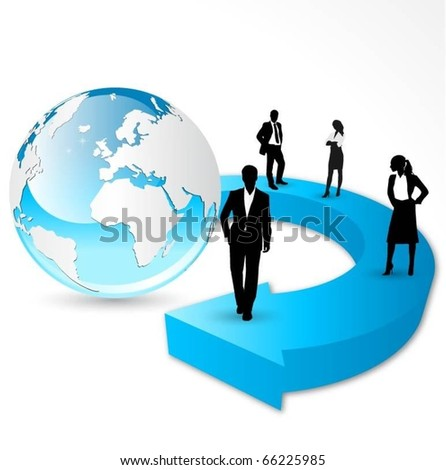business people team standing on arrow with globe