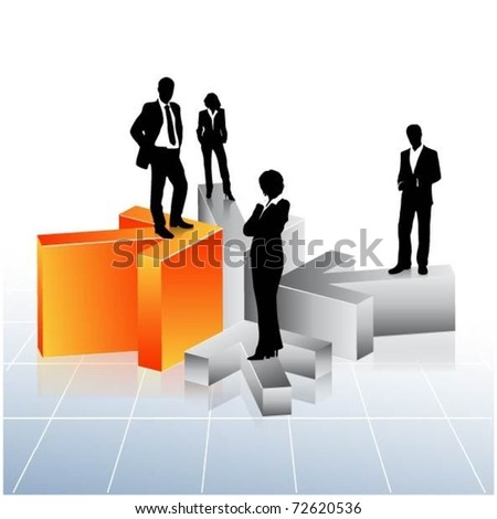 business people team standing on 3d arrows-vector
