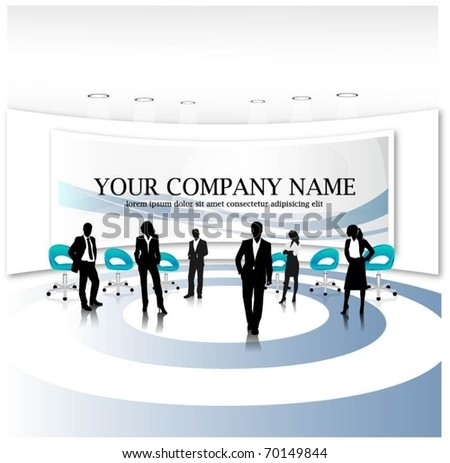 business people team with banner-vector