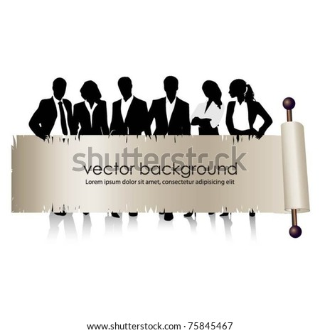 business people team with banner -vector