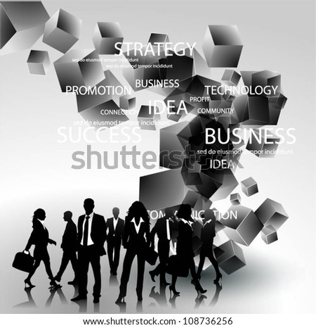 Business people team with 3d cubes vector