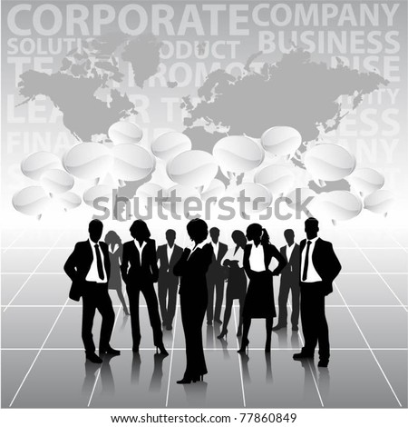 business people team with 3d speech bubbles and world map-vector