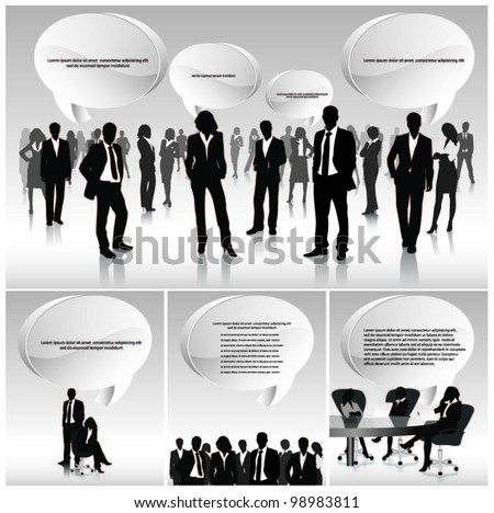 business people team with 3d speech bubbles. vector
