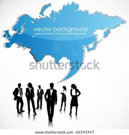 business people team with euroasia map - stock vector
