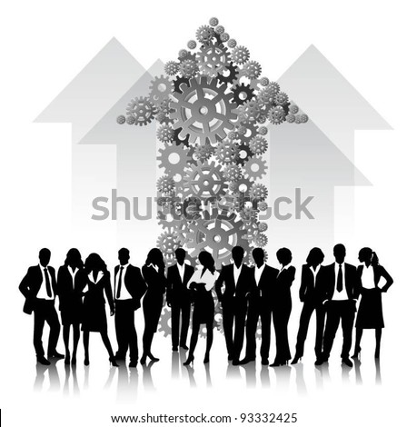 business people team with gears and arrows vector