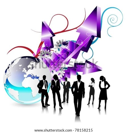 business people team with globe and arrow-vector
