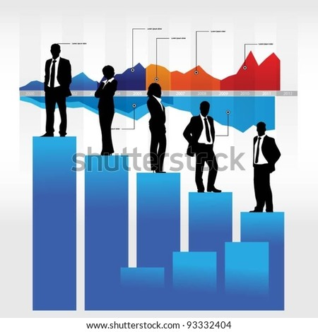 business people team with graph-vector illustration