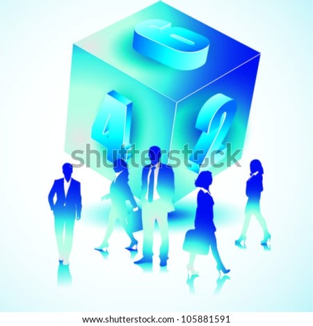 Business people team with numbered cube.Vector illustration