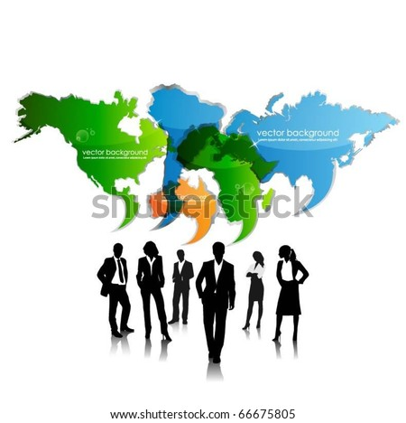 business people team with speech bubble continents