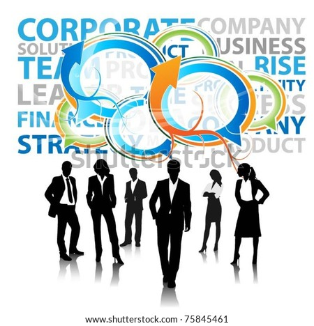 business people team with speech bubble -vector