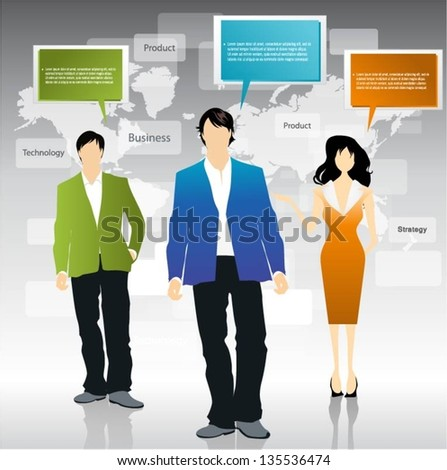 Business people team with speech bubbles vector