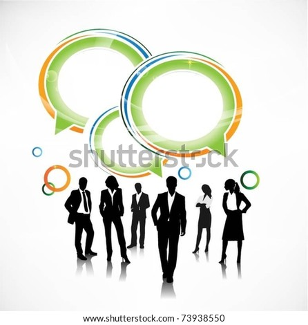 business people team with speech bubbles-vector