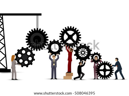 Business People Teamwork - Isolated On White Background. Vector Illustration, Graphic Design.