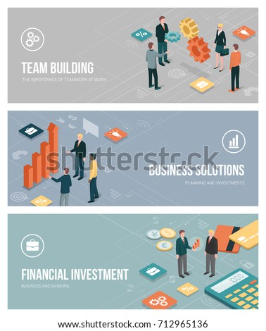 Business people, teamwork, planning and financial investments banners set with isometric characters and app buttons