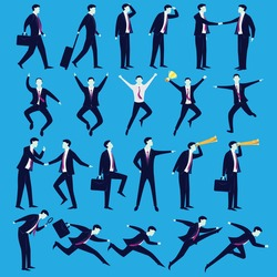 Business People Vector illustration. Set collection of businessmen in various position of pose, cartoon silhouette character
