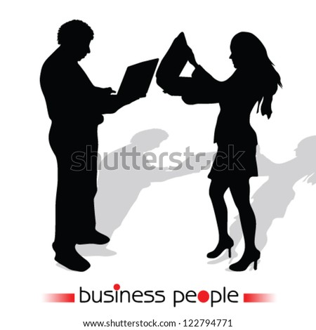 business people vector illustration silhouette girl and man