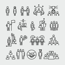 Business people vector line icons