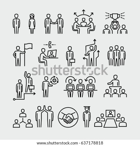 Business people vector line icons #637178818