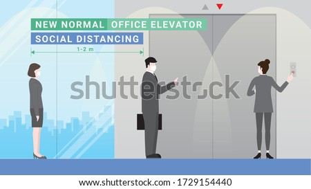 Business people waiting for elevator down in office building. Lifestyle after pandemic covid-19 corona virus. New normal is social distancing queue and wearing mask. Flat design style vector concept
