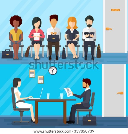 Business people waiting  job interview. Waiting businesswoman and businessman. Recruitment concept  flat design style. Vector illustration