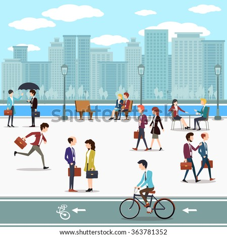 Business people walking on the street and skyline skyscrapers background. Building urban city, skyline and downtown, vector illustration