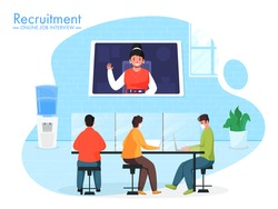 Business People Wear Protective Mask During Work Together At Workplace With Having Video Conference For Online Job Interview Recuitment Concept.