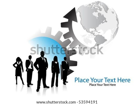 business people with arrows and globe