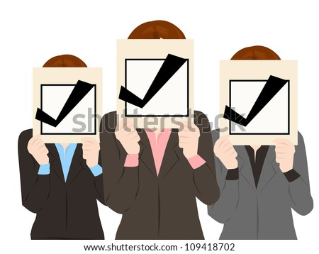 business people with check mark approved collection vector
