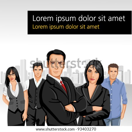 Business people with city on the background - stock vector