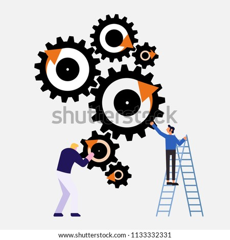 business people with cog vector