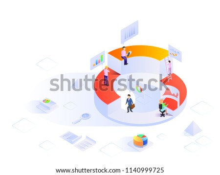 Business people with different growth stages, analytics analysis the data with the help of infochart, isometric design for startup or data analysis concept.