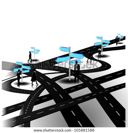 Business people with direction road signs by the tangled roads. Vector illustration