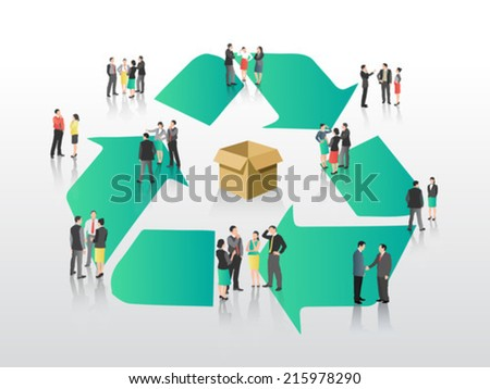 Business people with recycling symbol on grey background