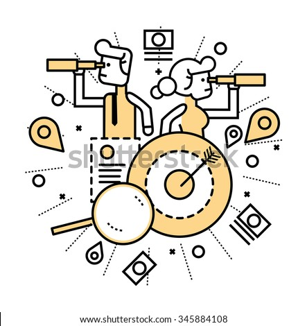 Shutterstock Business people with telescope finding opportunity. business and finance concept. line flat design. vector illustration
