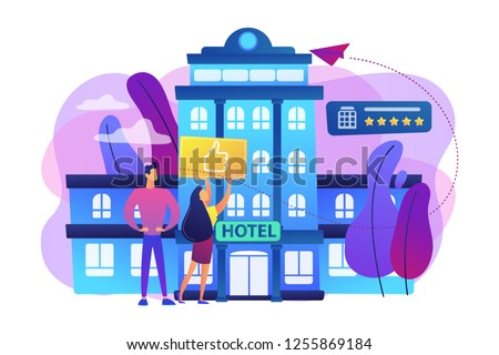 Business people with thumb up for modern trendy lifestyle hotel. Lifestyle hotel, modern hospitality trend, cutting-edge hotel concept. Bright vibrant violet vector isolated illustration