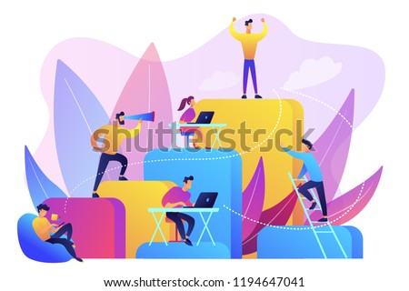 Business people work and climb the corporate ladder. Employment hierarchy, career planning, career ladder and growth concept on white background. Bright vibrant violet vector isolated illustration