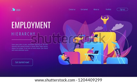 Business people work and climb the corporate ladder. Employment hierarchy, career planning, career ladder and growth concept on white background. Website vibrant violet landing web page template.