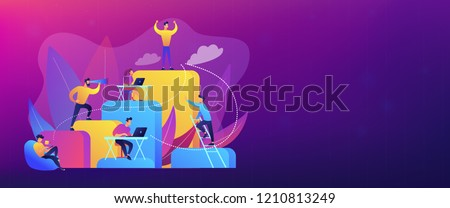 Business people work and climb the corporate ladder. Employment hierarchy, career planning, career ladder and growth concept on white background. Header or footer banner template with copy space.