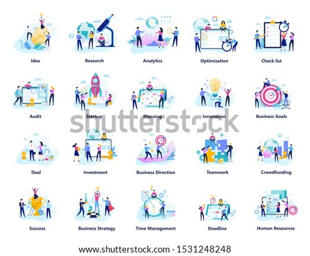 Business people work in team big set. Collection of creative teamwork. Success symbol and finance industry. Flat vector illustration