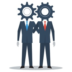 Business people work together on project, collaboration, find common ground, partners, team building, vector illustration