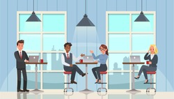 business people working and meeting in office character vector design