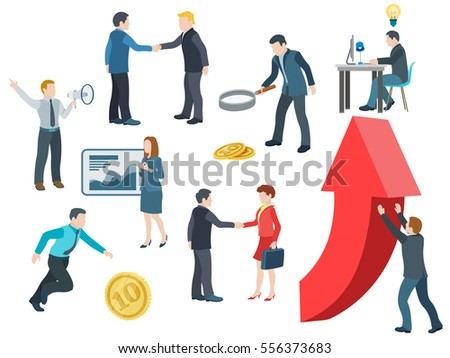 Business people working. Flat icons vector set. Conversation, transactions, PR, new ideas, presentation, search for an investor, increase in profits, man running for the coin. Vector illustration.