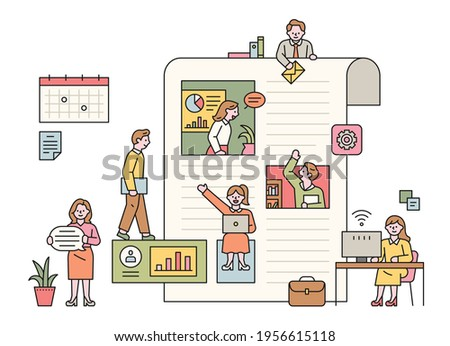 Business people working inside and outside a large paper layout. flat design style minimal vector illustration.