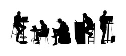 Business people working on computer in office silhouette. Man with laptop. Corporate workplace office. Woman typing on pc. Worker programming in IT hub. Software developer. Freelancer creative job.