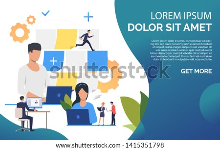 Business people working on computer presentation slide. Office, note, computer, objective, sample text. Business concept. Vector illustration for poster, presentation, new project #1415351798