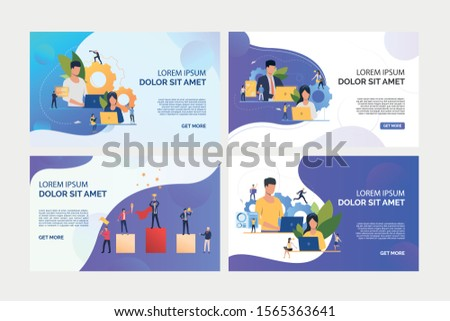 Business people working on laptops set. Team working on project, winning prize, standing on podium. Flat vector illustrations. Business, teamwork concept for banner, website design or landing web page