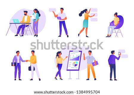 Business people working together,  Flat  modern vector illustration.