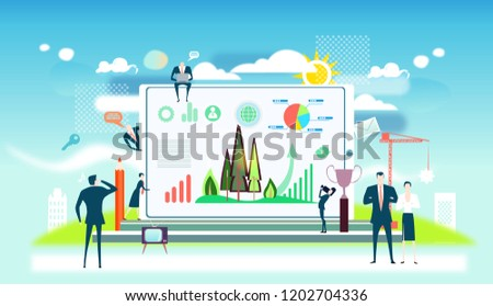 Business people working together towards the saving national recourses. Business concept illustration.  #1202704336